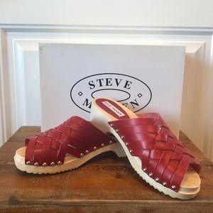 New Steve Madden Red Clog Sandals